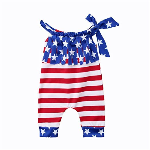 23e63fb7e078 Baby Boy Girl USA Flag American Stars Stripes Romper Bodysuit 4th of July  Outfit Clothes (