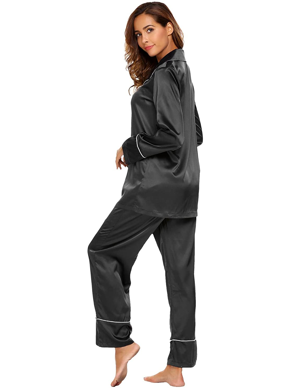 Ekouaer Women 2 Pieces Long Sleeve Pajama Sets Lounge Wear with Pj Elastic  Waist Pants Nightwear  Amazon.co.uk  Clothing e7a11c56f