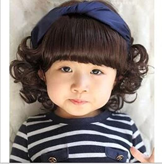 Amazon Com Child Cosplay Wig Curly Hair Lovely Bang Wig For Kids