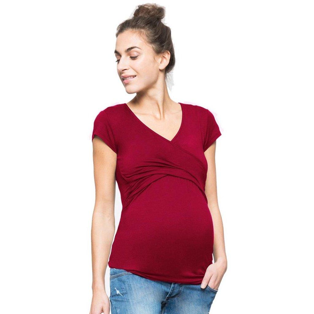 MCYs Frauen Sommer Einfarbig Schwangerschafts Baby für Mutterschafts Multifunktionsblusen T-Shirt Bluse Top Stilltop Umstandstop