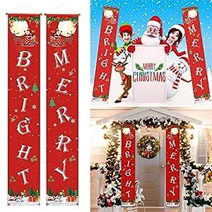 AXTEE Christmas Banner Decoration, Outdoor Indoor Christmas Decorations, Welcome Merry Christmas Bright Porch Sign, Xmas Decor Hanging Door Banners Porch Sign Christmas Decoration (Red N)