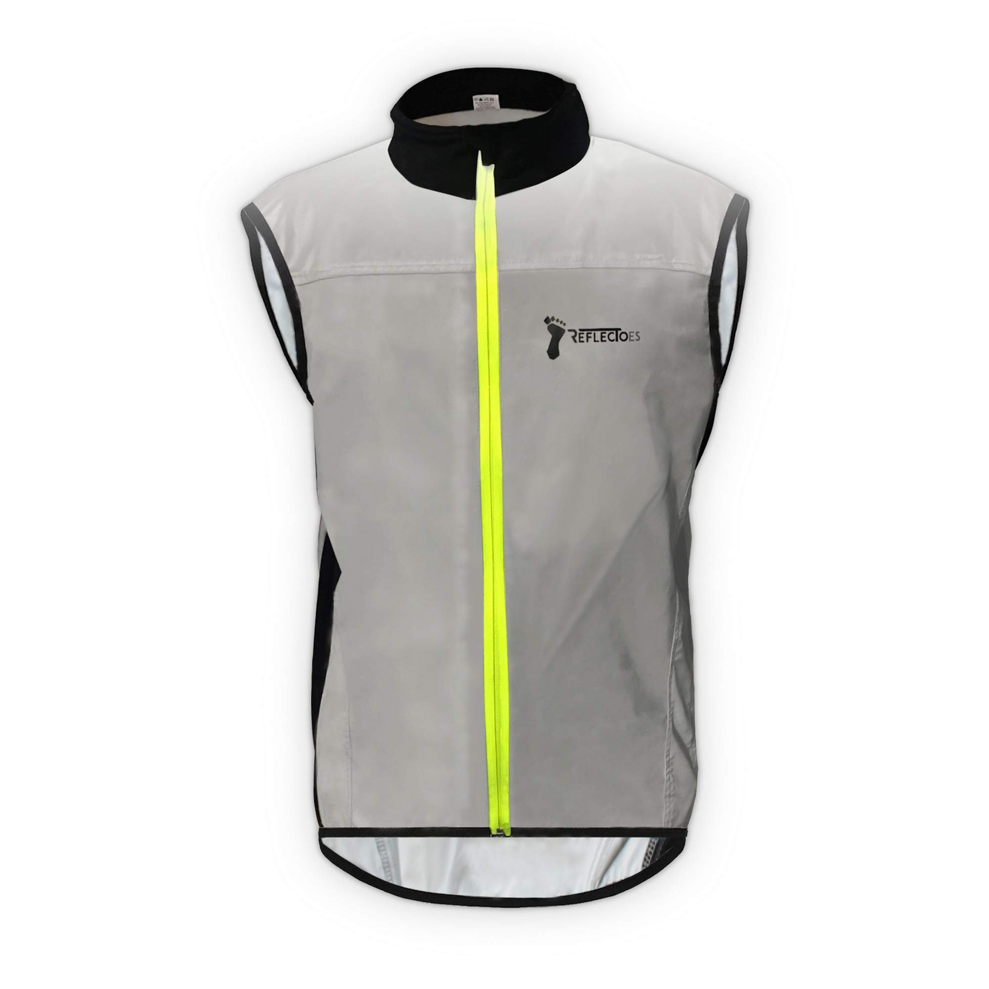 ReflecToes Reflective Windbreaker Vest for Running and Cycling. Lightweight and DurableMens Jacket Designed with Intelligent Stretch Fabric and BioMotion Technology for Maximum Visibility Medium