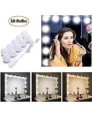 STN Luces de Espejo de Tocador Espejo de Maquillaje LED Kit,10 Bombillas Dimmable 3 Modos De Color y 10 De Brillo, Para Diy Maquillaje Espejos Vestidor Baño Luz (Sin Espejo y Cargador Usb)