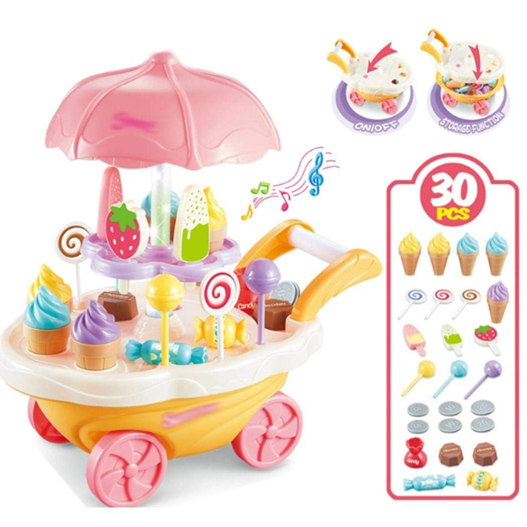 Breven Chirldren Pretend Play Food Dessert BBQ Trolley Set Toys with Music and Lighting Toys Kitchen Playsets