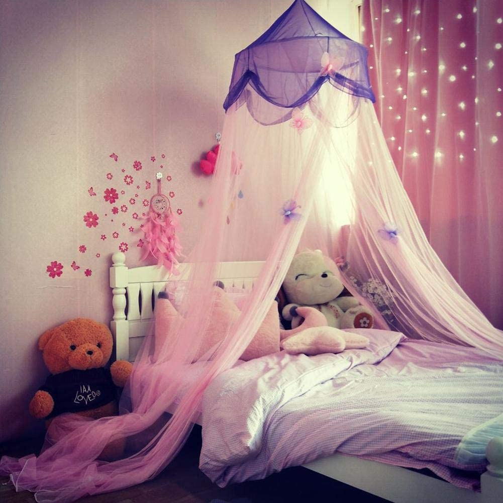 Multicolored Round Mosquito Net Princess Luxurious Elegant Wedding Bed Decoration Girls Gift Hanging with Hooks. Blueyouth Bed canopy for Children