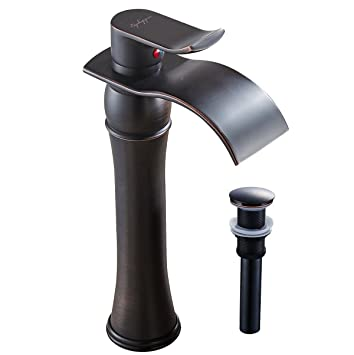 Single Handle Bathroom Basin Sink Vessel Faucet Waterfall Spout Mixer Tap Tall