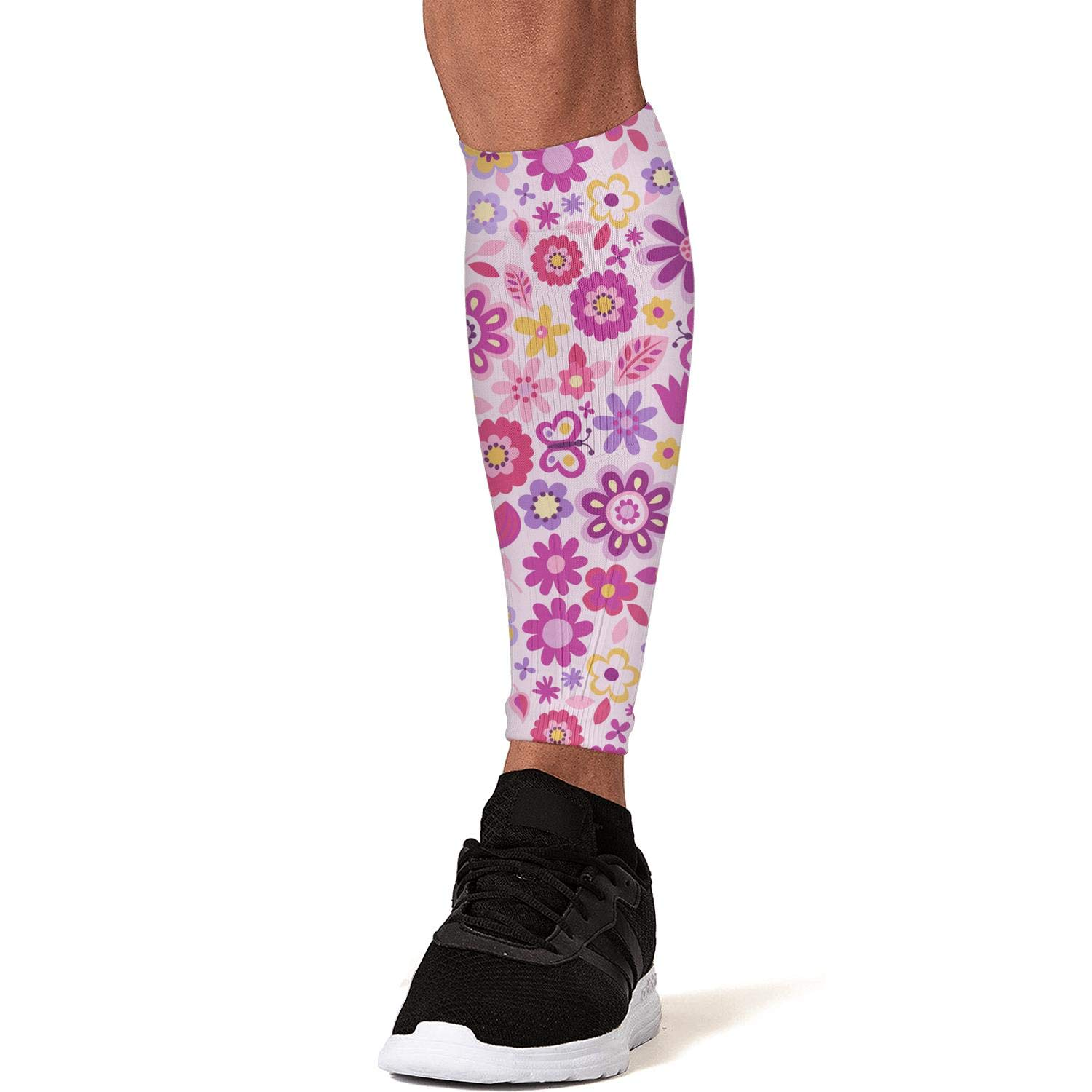 Pink Daisy Seeds Calf Compression Sleeve for Men//Women Shin Splint Support Leg Compression Socks for Running Cycling Travel Nurses Pain Relief Calves