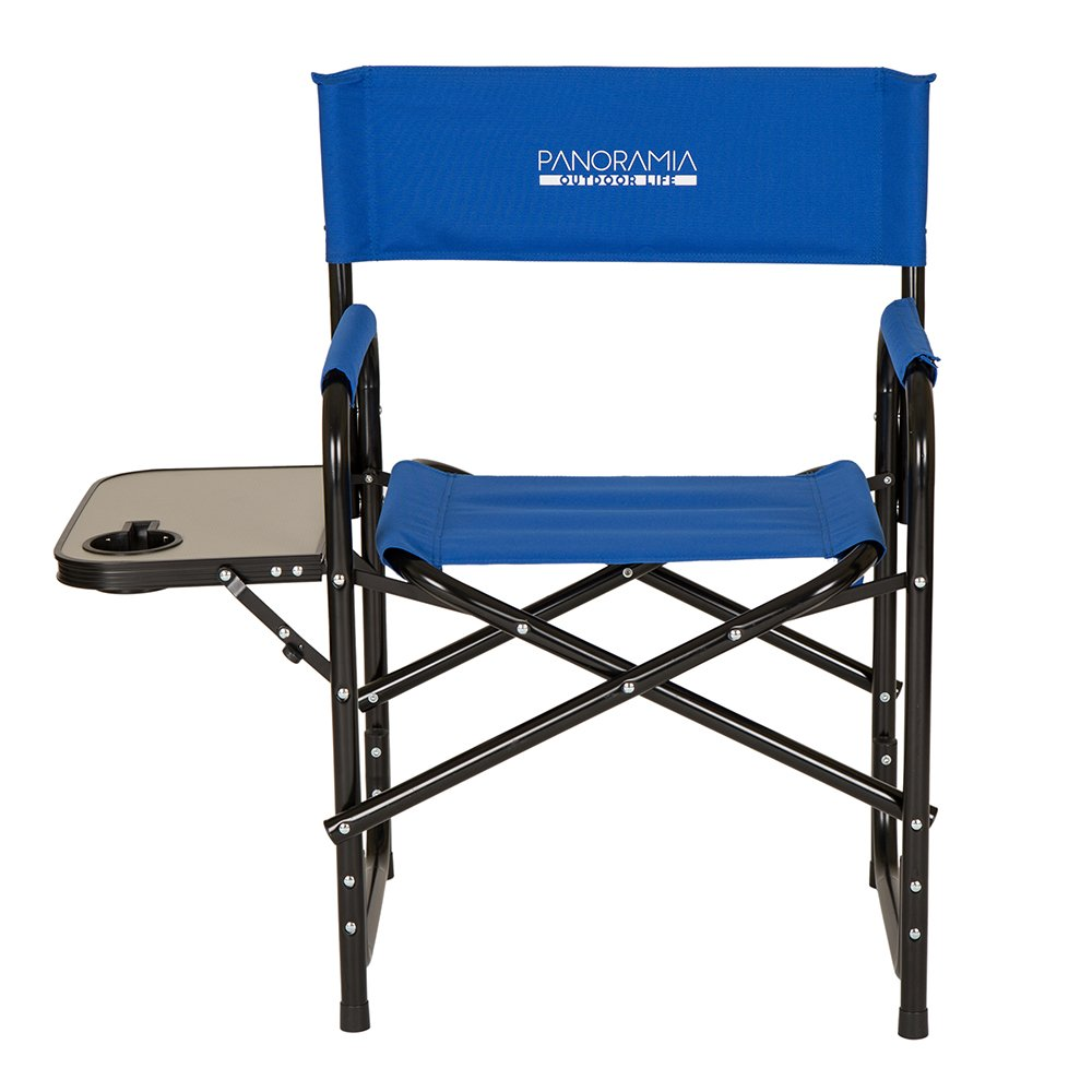 Glitzhome Foldable Metal Director Chair with Armerest Table, Navy Blue