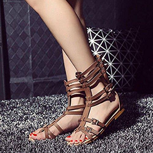 Azbro Mujer Moda Sandalias Thong Gladiator Planas con Cremallera Trasera Negro
