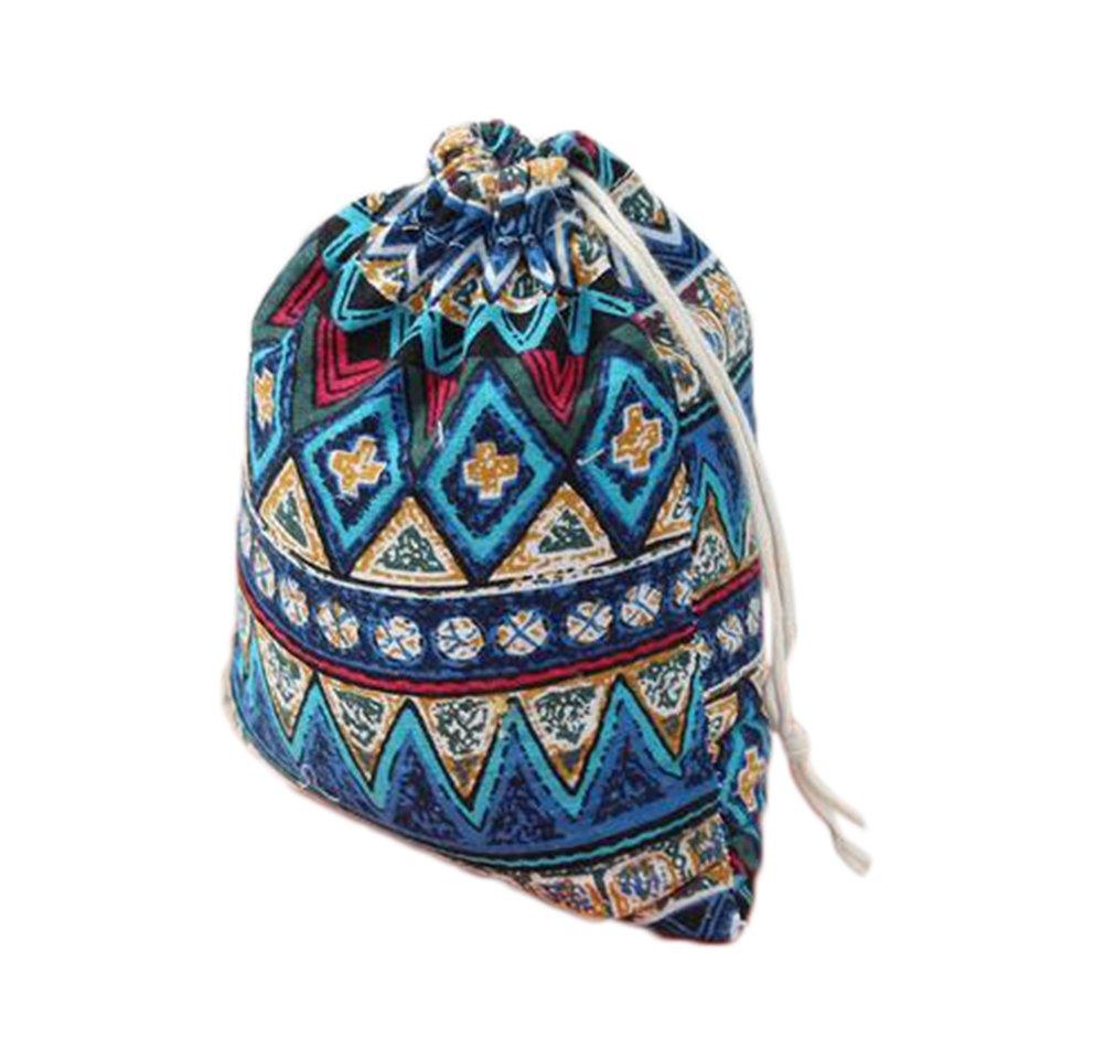 DaoRier 1× Cadeau Sac Sachet Créatif Pochette à Bijoux Petit Sac Cadeau à Cordon Coulissant en Coton Coin Pochette de Rangement-Motif Géométrique-Rétro-Mystérieux-Bleu