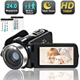 Camcorder Digital Video YouTube Vlogging Camera Recorder Full HD 1080P 30FPS 24.0 MP IR Night Vision 3.0 Inch IPS Screen…