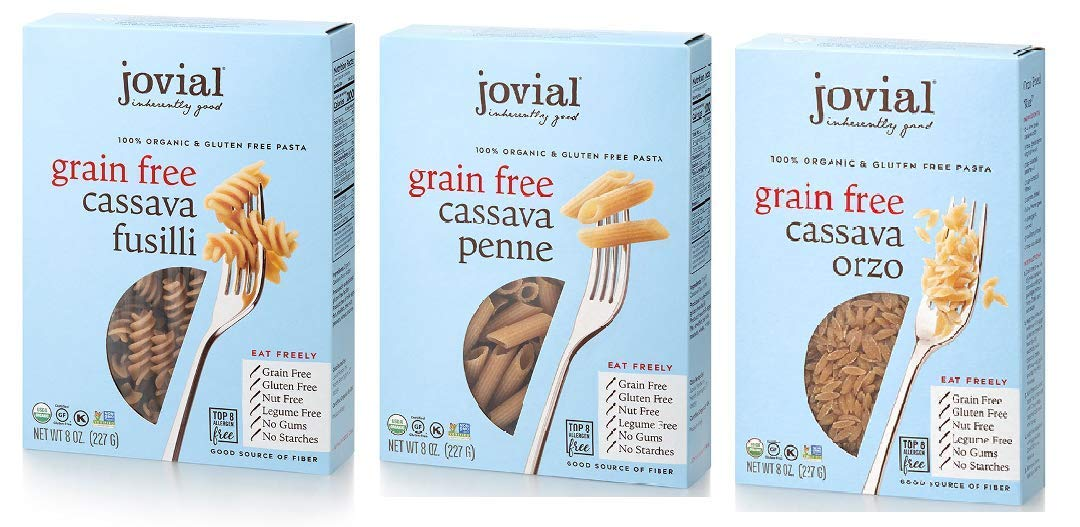 Jovial Grain-Free Cassava Pasta Variety ( Orzo, Penne and Fusilli ) Each Flavor one Pack Total Three Pack