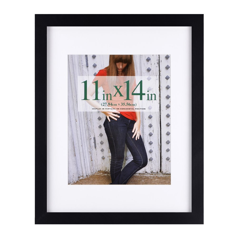 RPJC 11 x 14 Picture Frames Made of Solid Wood and High Definition Glass Display Pictures 8x10 with Mat or 11x14 Without Mat for Wall Mounting Photo Frame Black by RPJC