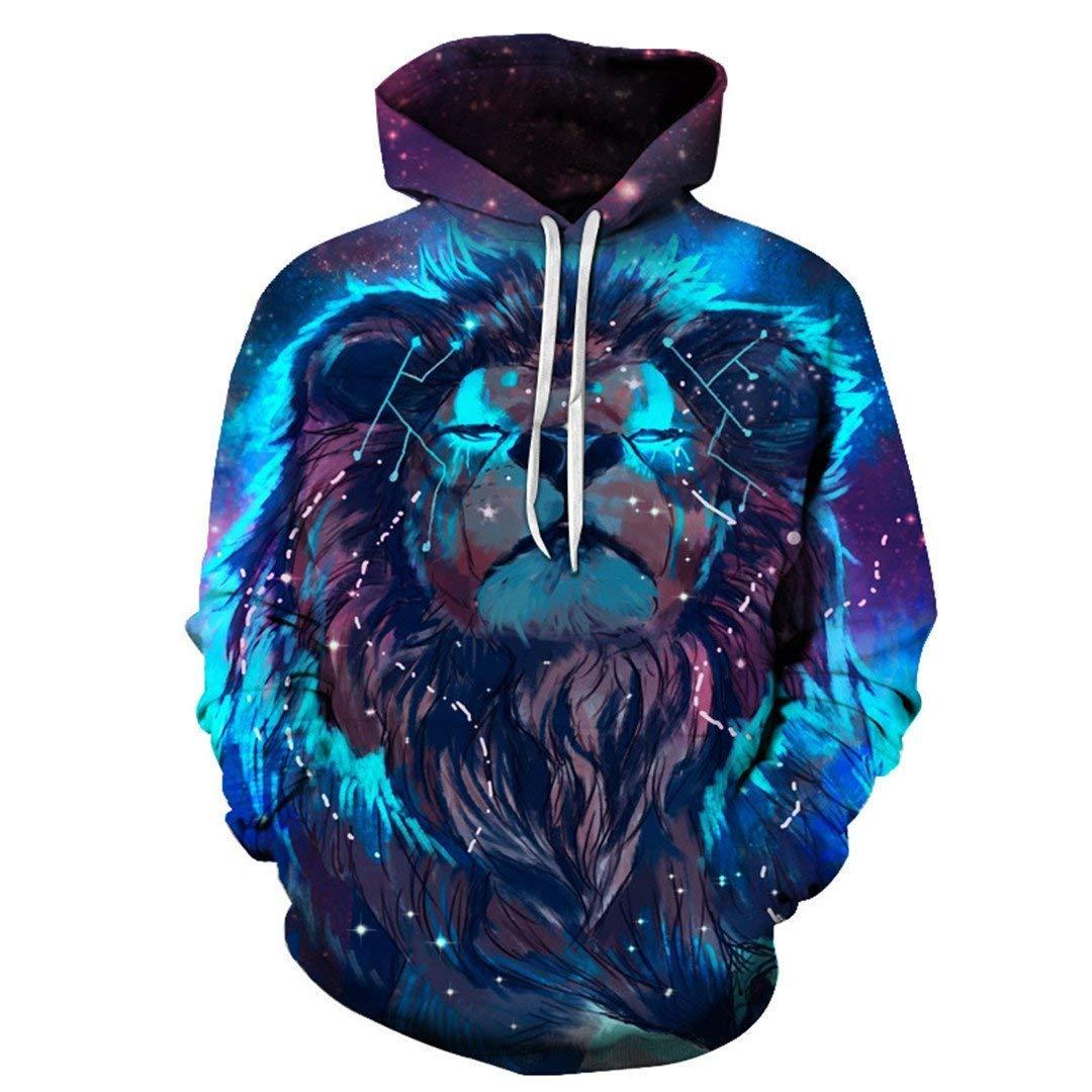 stupy Men Women Lion Constellation Print Cool 3D Print Hooded Pullover Sweatshirt Casual Pocket Jacket Winter Outdoor Sport Tops 2X