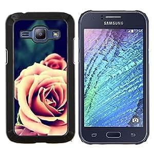Eason Shop / Premium SLIM PC / Aliminium Casa Carcasa Funda Case Bandera Cover - Rosa Naranja Primer plano Flor - For Samsung Galaxy J1 J100