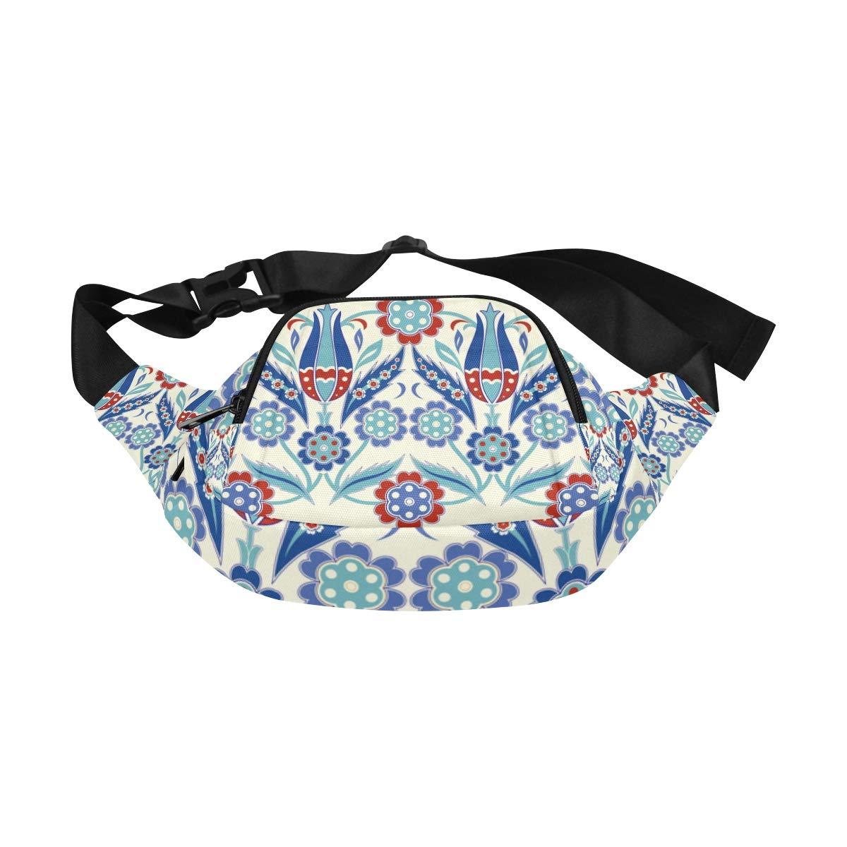 Flowers And Moroccan Tiles Fenny Packs Waist Bags Adjustable Belt Waterproof Nylon Travel Running Sport Vacation Party For Men Women Boys Girls Kids