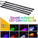 Exlight 7 Color LED Interior Underdash Lighting Kit with Sound Active Function and Wireless Remote Control, 4 Pieces