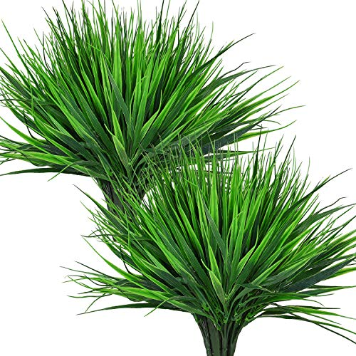 Sunm boutique Artificial Outdoor Plants, 8 Pcs Faux Plastic Wheat Grass, Fake Plastic Greenery Shrubs for Outdoor Indoor Garden Office Window Box Veranda Centerpiece Floral Wedding Decor