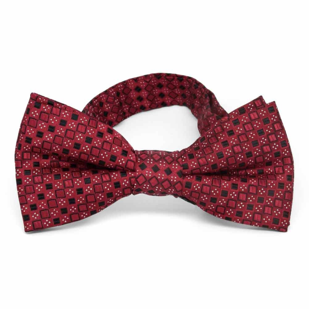 TieMart Crimson Red Marie Square Pattern Band Collar Bow Tie