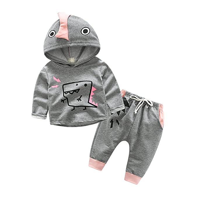 3dc07f001 Top and Top Toddler Infant Baby Boys Dinosaur Long Sleeve Hoodie Tops  Sweatsuit Pants Outfit Set