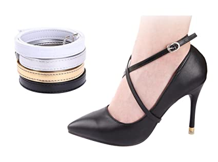 b9ec1262d64 erioctry Women Lady Girl Detachable Anti-Slip PU Leather Shoe Straps for  Holding Loose High