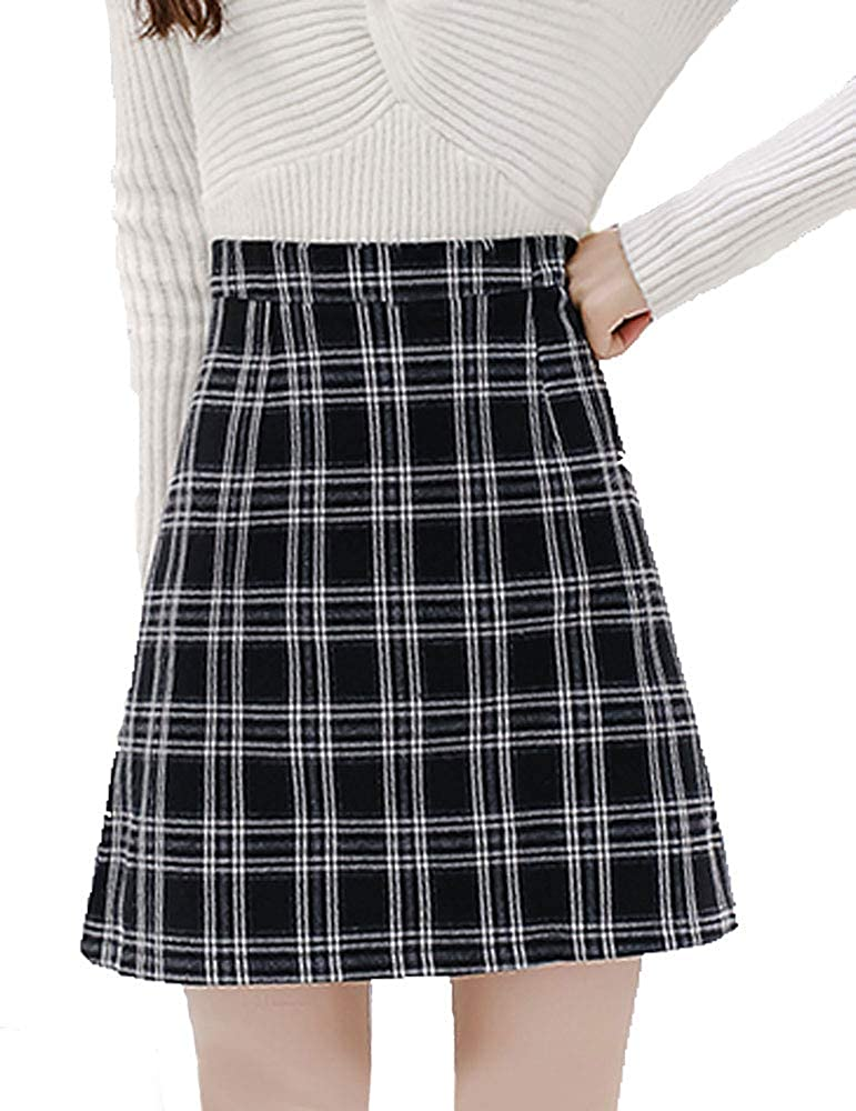 a1435f8bdc7c76 Women's Elegant Bodycon High Waist Zip Back Plaid A-Line Mini Skirts at  Amazon Women's Clothing store: