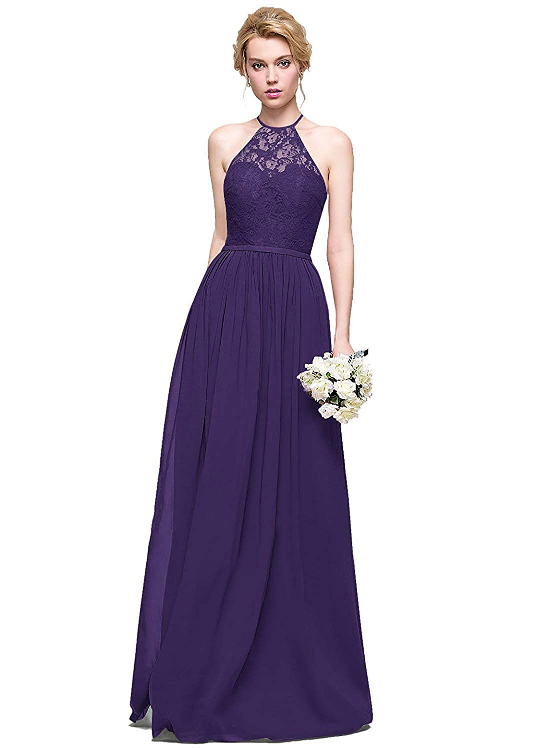 Dark Purple Halter Lace Sweetheart Neck Bridesmaid Dresses Long Prom Evening Gown