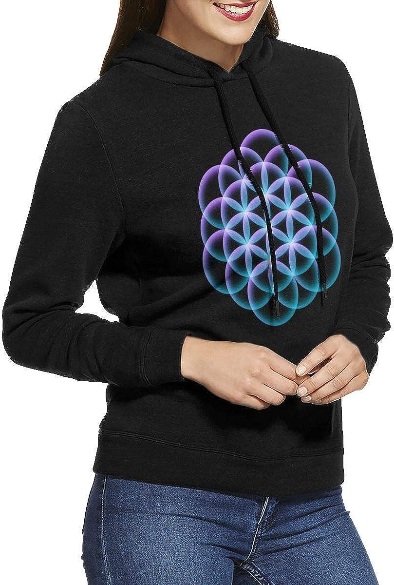 FOECBIR Flower of Life Mandala Sweatshirts Pullover Hoodie for Womens