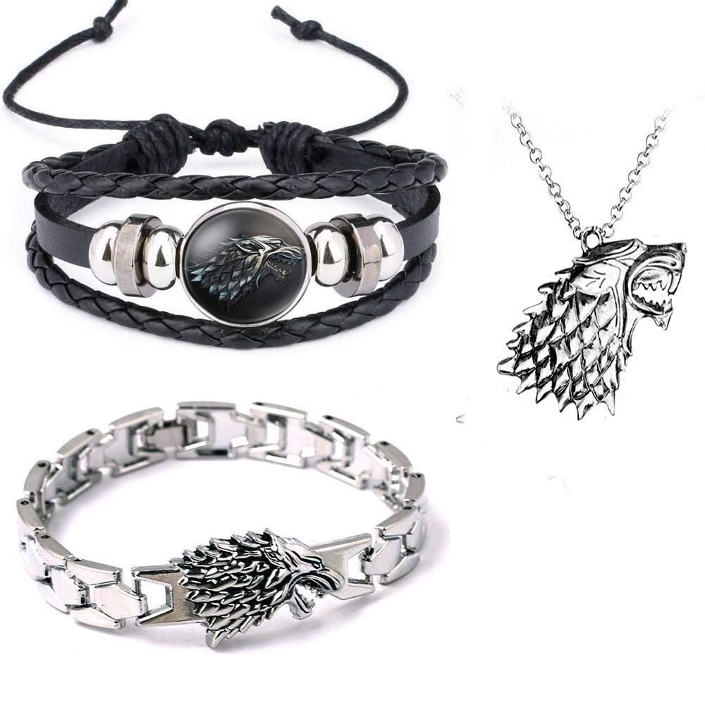 Imcneal 3Pack Game of Thrones House Stark Wolf Bracelets Cosplay Handmade Bangles Wristband Boy Gift with Necklace Pendant