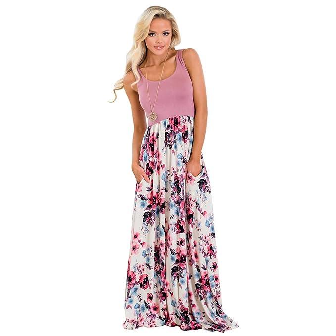 e857d9fe1 Jitong Bohemio Vestido de Flores Largo para Playa