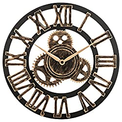 OLDTOWN Clock 12 inch Noiseless Silent Gear Wall Clock - Large 3D Retro Rustic Country Decorative Luxury Art Big Wooden Vintage for House Warming Gift (12 inches, Roman-Bronze)