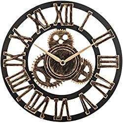 "OLDTOWN Clock 12"" inch Noiseless Silent Gear Wall Clock - Large 3D Retro Rustic Country Decorative Luxury Art Big Wooden Vintage for House Warming Gift (12 inches, Roman-Bronze)"