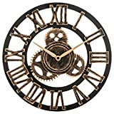OLDTOWN Clock 12'' inch Noiseless Silent Gear Wall Clock - Large 3D Retro Rustic Country Decorative Luxury Art Big Wooden Vintage for House Warming Gift (12 inches, Roman-Bronze)