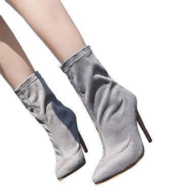 Spleißen Damen Blockabsatz Stiefel Faux wildleder