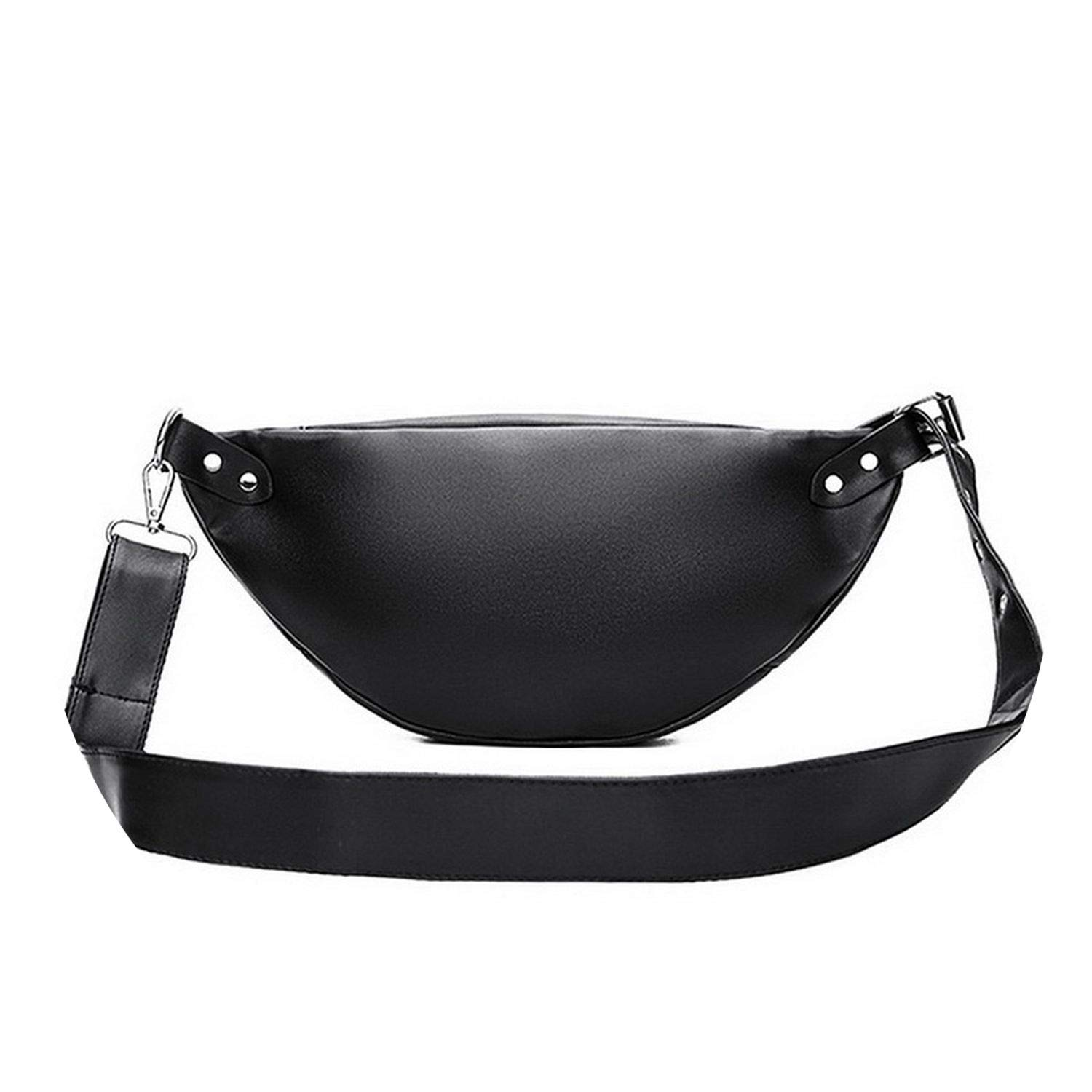 Pu Leather Waist Packs on Women Shoulder Bags Black Design Simple Casual Belt Bags WHDV0195