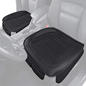 Motor Trend Black Universal Car Seat Cushions, Front Seat 2-Pack – Padded Luxury Cover with Non-Slip Bottom & Storage Pockets, Faux Leather Cushion Cover for Car Truck Van and SUV