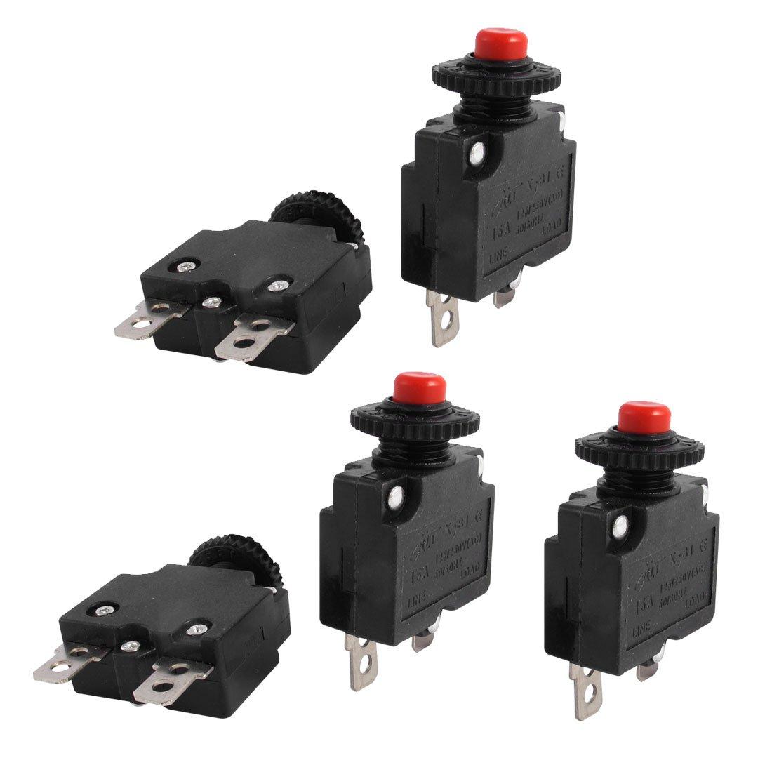AC 125V/250V 15A Push Button Circuit Breaker for Air Compressor 5 Pcs