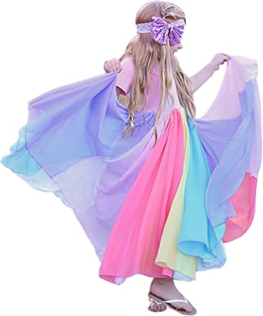 Rainbow Girls Handkerchief Dress for Ages 8-12yrs Great for Summer /& Xmas Day