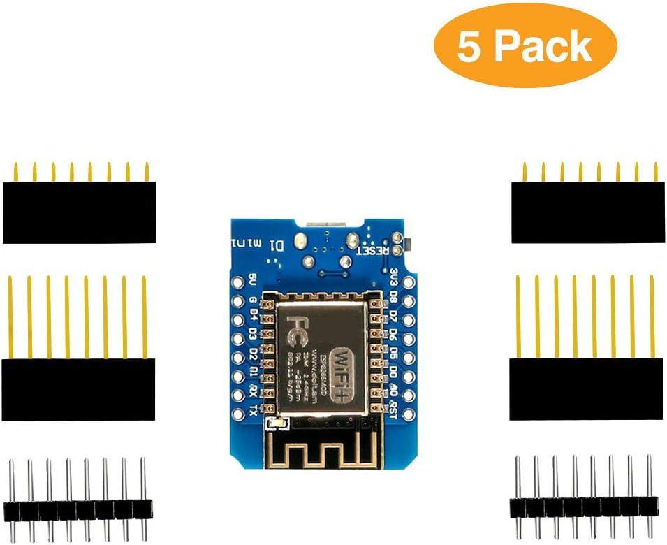 Dorhea ESP8266 ESP-12 ESP-12F NodeMcu Mini D1 Module WeMos Lua 4M Bytes WLAN WiFi Internet Development Board Base on ESP8266 ESP-12F for Arduino,Compatible with WeMos D1 Mini (Pack of 5)
