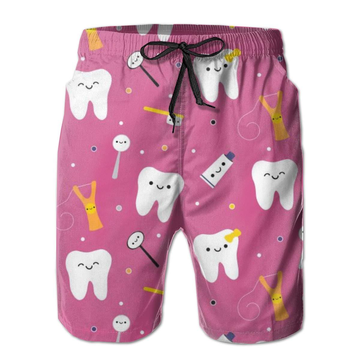 Mens Swim Trunks Dentistry Happy Teeth Friends Beach Board Shorts Quick Dry Sports Running Swim Board Shorts with Pockets Mesh Lining