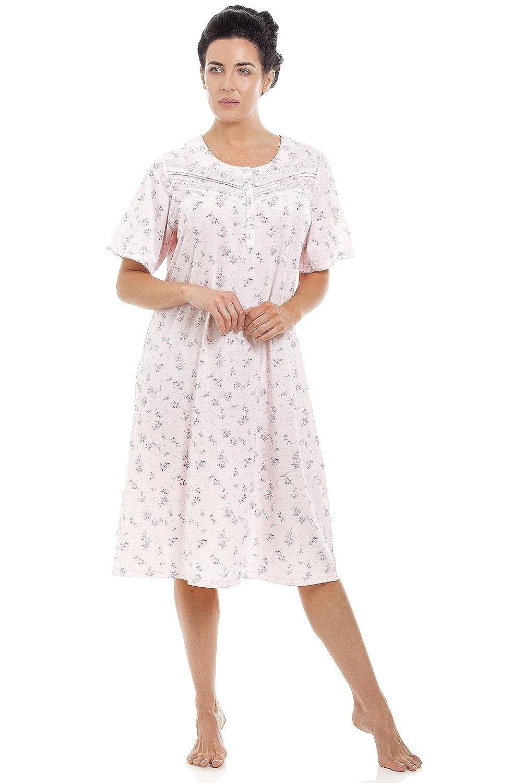 Rose Motif /à Fleurs Chemise de Nuit /à Manches Courtes