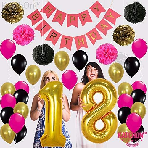 18th BIRTHDAY BANNER POMPOM DECORATIONS Hot Pink Happy