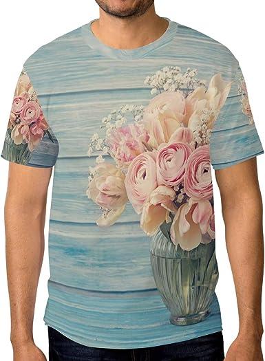 Camiseta para Hombres Niños Piso de Madera Jarrón de Flores, Manga Corta Personalizada: Amazon.es: Ropa y accesorios