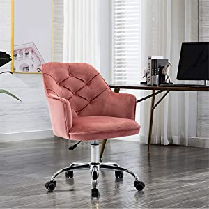 SSLine Modern Cute Desk Chair Home Office Mid-Back Computer Chair on Wheels Living Room Upholstery Leisure Chairs Elegant Velvet Fabric Swivel Chair Vanity Chairs for Girls Women -Bean Pink