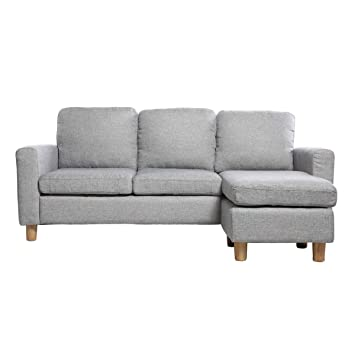 Miliboo - Sofá de esquina reversible diseño gris ALAMO ...
