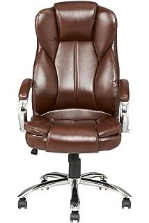 brown modern high back leather executive office desk task computer chair wmetal base bush saratoga computer desk