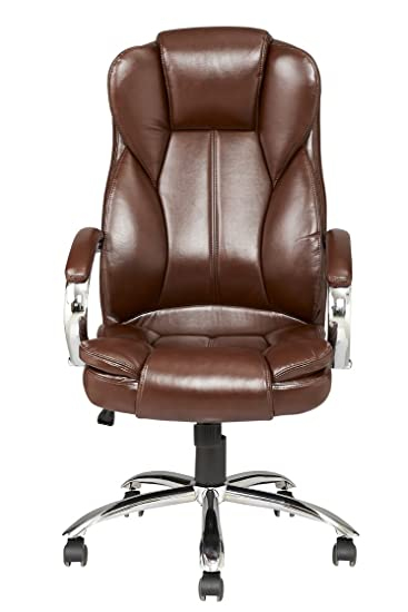 brown modern high back leather executive office desk task computer chair wmetal base brown metal office desk