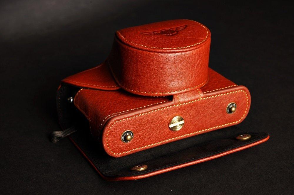 TP Main v/éritable Cuir v/éritable Full Camera Case Sac Housse pour Leica D-Lux Typ 109/Marron Bottom Ouverture Version