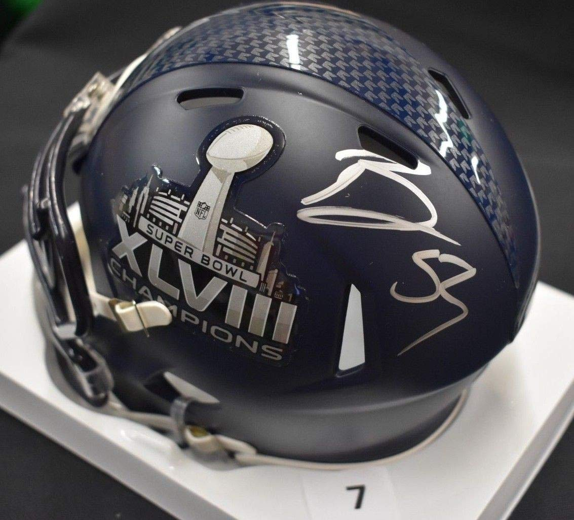 Bobby Wagner Seahawks Autographed Signed Super Bowl 48 Blue Football Mini Helmet #7 JSA Authentic