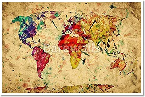 Amazon vintage world map colorful paint watercolor retro vintage world map colorful paint watercolor retro style expression on grunge old gumiabroncs Choice Image